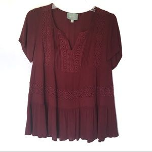 Skies Are Blue   Maroon Embroidered Crochet Top